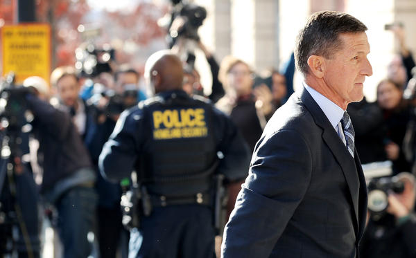Michael Flynn, former national security adviser to President Trump, arrives for his plea hearing at the Prettyman Federal Courthouse on Friday in Washington, D.C.