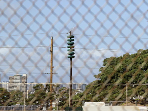 A Hawaii Civil Defense Warning Device, which sounds an alert siren during natural disasters, is shown in Honolulu on Wednesday.