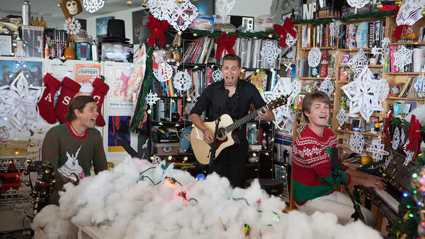 Hanson performs a Tiny Desk Concert on Sept. 25, 2017 (Christina Ascani/NPR).