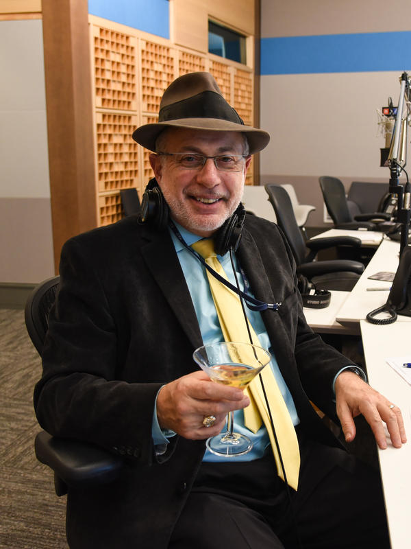 Robert Siegel, who is retiring after 30 years on the air, tastes a cocktail fittingly named Radio Silence.