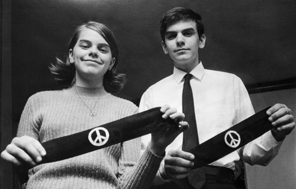In 1968, Mary Beth Tinker and her brother, John, display two black armbands they used to protest the Vietnam War at school.