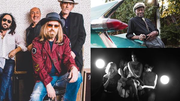 Three of the artists we lost in 2017: Tom Petty with Mudcrutch (left), Chuck Berry (top right), Jesse Zazu with Those Darlins (bottom right, credit: Veta & Theo).