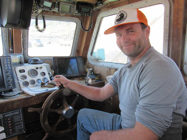 Commercial fisherman Orion Ashdown at the controls of the FV Aries at the Port of Port Orford. Ashdown was one of the fishermen who came to support the creation of the Redfish Rocks Marine Reserve.