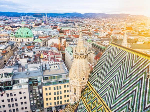 Aerial view over the rooftops of Vienna from the south tower of St. Stephen's Cathedral. Many Muslims say tensions are rising in Vienna.