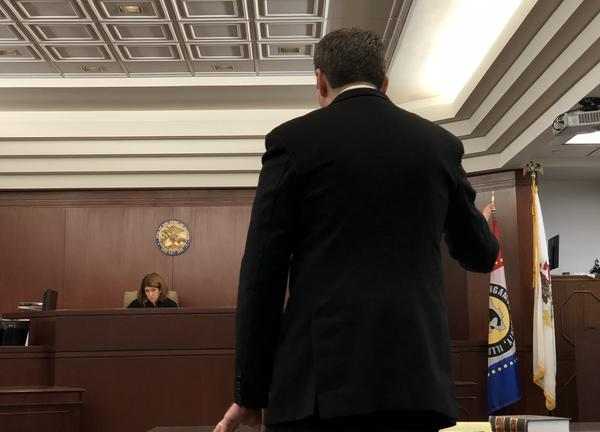 Peter Breen, right, argues his case before Sangamon County Associate Judge Jennifer Ascher.
