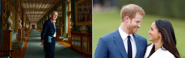(Left) A portrait of Prince Philip, Duke of Edinburgh, by artist Ralph Heimans, hangs at Windsor Castle. (Right) Prince Harry and Meghan Markle announced their engagement at Kensington Palace on Nov. 27.