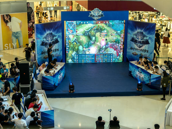 An Arena of Valor match is held in October in a shopping mall in Tianjin, China.