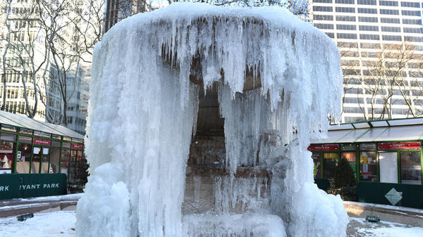 The Josephine Shaw Lowell Memorial Fountain at Bryant Park in New York City was frozen on Tuesday, as New Yorkers return  to work after the holiday break.