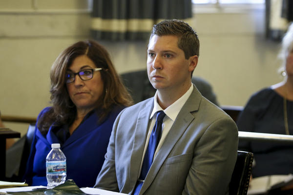 Ray Tensing seated beside FOP attorney Gwen Callender on the first day of his retrial on Thursday, June 8, 2017.