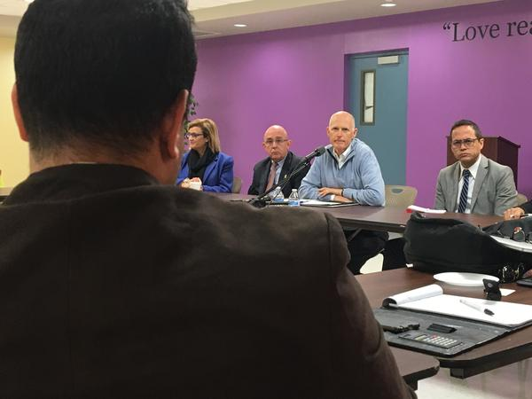 Gov. Rick Scott at a round-table discussion about the ongoing recovery efforts in Puerto Rico.