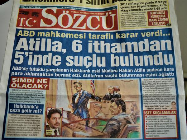 <em>Sozcu</em>, a Turkish daily newspaper seen in Ankara, runs Mehmet Hakan Atilla's conviction as front-page news on Thursday.