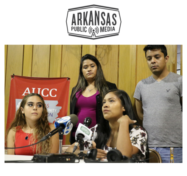 Mariela Valeriano, an undocumented immigrant who arrived in the U.S. as a child, speaks at a press conference Tuesday in Little Rock following the Trump Administration's intention to rescind the Deferred Action for Childhood Arrivals policy.