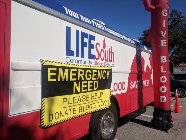 LifeSouth's mobile blood donation center parked outside the Southside's Home Depot Thursday.