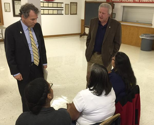 U.S. Sen. Sherrod Brown (D-Ohio) talks to constituents in Columbus.