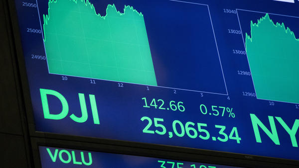 The Dow Jones industrial average closed above 25,000 Thursday for the first time.
