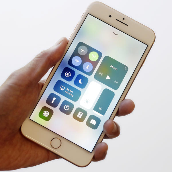 The iOS 11 control center is displayed on the iPhone 8 Plus in New York in September. Apple says its iOS devices are among those affected by the Meltdown vulnerability.