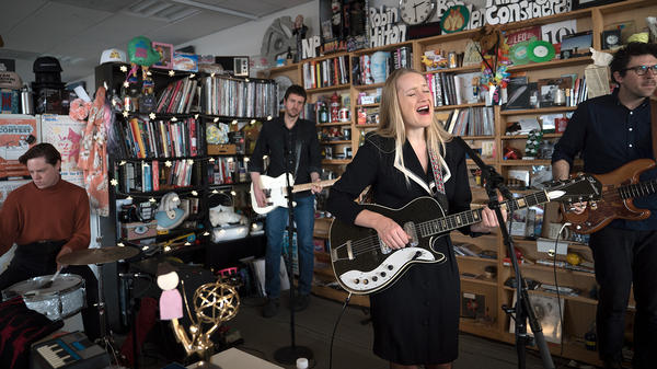 The Weather Station performs a Tiny Desk Concert on Dec. 12, 2017 (Jennifer Kerrigan/NPR).