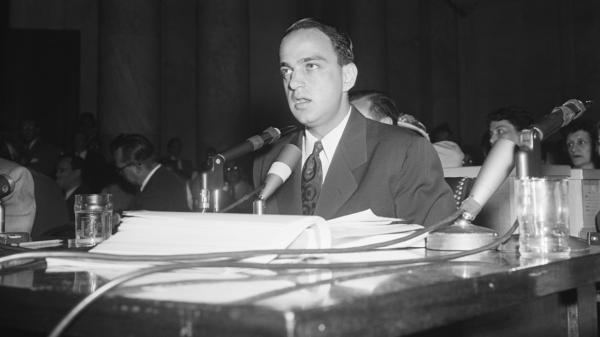Winding up his testimony before a Senate subcommittee, Roy Cohn makes a speech of praise for Sen. Joseph McCarthy, R-Wis., on June 15, 1954.