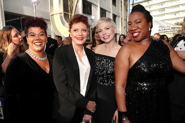 Activist Rosa Clemente (far left), actors Susan Sarandon and Michelle Williams and activist Tarana Burke (far right), arrive to the 75th Annual Golden Globe Awards held at the Beverly Hilton Hotel. Clemente is an organizer, political commentator and independent journalist. Burke is the founder of the #MeToo. movement and co-founder of Just Be You Inc.