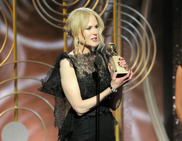 "Nicole Kidman accepts the award for best performance by an actress in a limited series or motion picture made for TV for her role in ""Big Little Lies."""