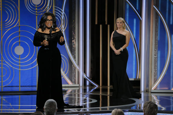 Oprah Winfrey, the first black woman to win the Cecil B. DeMille Award, spent most of her speech time at the 75th Golden Globes talking about the long fight for women's justice.