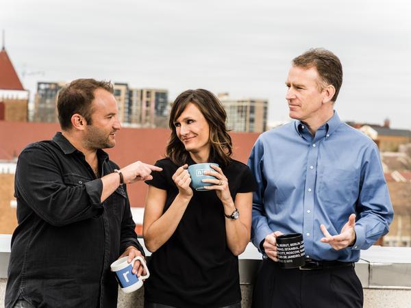 David Greene, Rachel Martin and Steve Inskeep, hosts of <em>Morning Edition</em> and <em>Up First.</em>