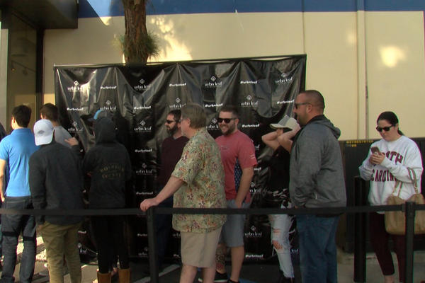 Customers line up outside Urban Leaf, a marijuana dispensary in San Diego.