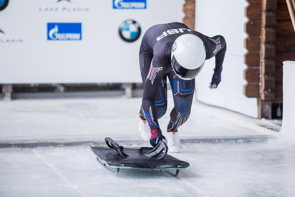 Kendall Wesenberg of Modesto, Calif., launches into her training run on the skeleton track in Lake Placid, N.Y.