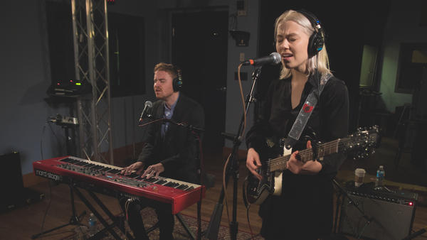 Phoebe Bridgers plays inside the World Cafe Performance Studio at WXPN in Philadelphia.