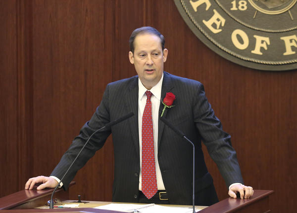 Senate president Joe Negron, R-Stuart, addresses his fellow senators on the first day of the legislative session, Tuesday, Jan. 9, 2018, in Tallahassee, Fla.
