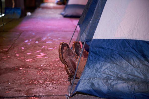 Proponents of medically supervised, indoor sites for opioid injection say such places would be much safer than tent encampments like this one — and could help people addicted to opioids transition into treatment and away from drug use.
