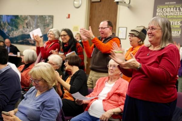 <p>Oil terminal opponents cheered after the Port of Vancouver Board of Commissioners voted to end a rolling lease with Vancouver Energy on March 31.</p>
