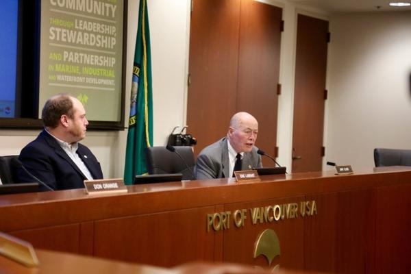 <p>Vancouver Port Commissioners Eric LaBrant and Jerry Oliver. Commissioners voted unanimously to end the lease with Vancouver Energy on March 31, if the company did not have all necessary permits by then.</p>