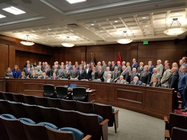 House Republicans take a party photo in a Cordell Hull hearing room on the first day of the 2018 legislative session.