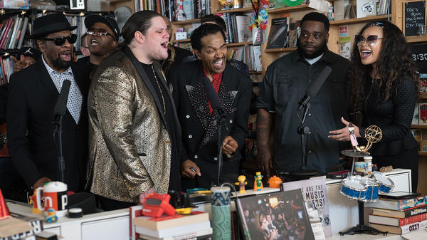 """The artists from the """"Take Me to the River"""" tour perform a Tiny Desk Concert on Nov. 16, 2017 (Jenna Sterner/NPR)."""
