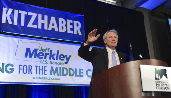 <p>Oregon Gov. John Kitzhaber greets supporters at the Democratic election night party in Portland in 2014.</p>