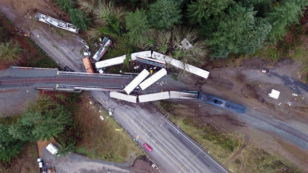 File photo. Amtrak Cascades Train 501 derailed onto Interstate 5 on December 18, 2017.