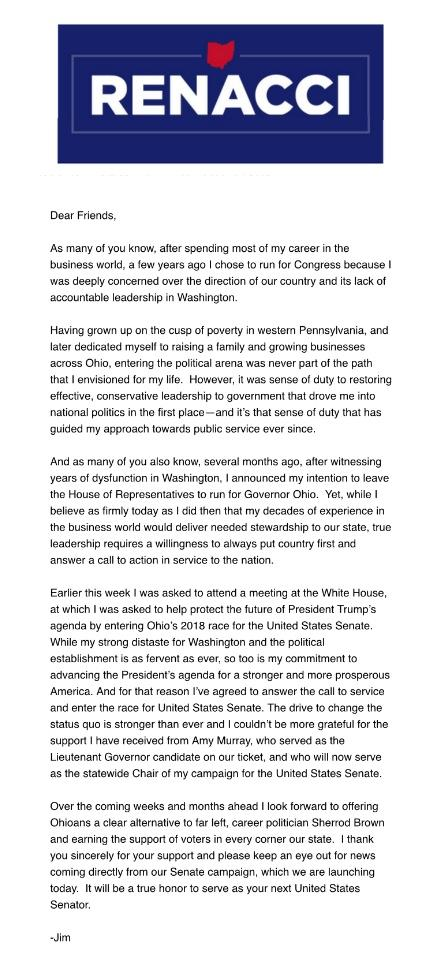 Congressman Renacci's letter