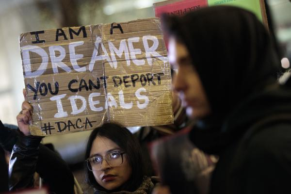 "Activists rally for the passage of a ""clean"" bill on the future of people who entered the country illegally as minors, outside the New York City office of Sen. Chuck Schumer, D-N.Y."