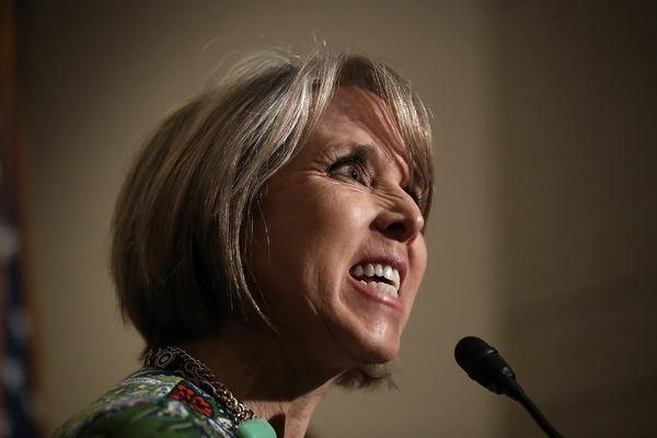 Rep. Michelle Lujan Grisham (D-N.M.), chairwoman of the Congressional Hispanic Caucus, delivers remarks following a meeting between U.S. Secretary of Homeland Security John Kelly and members of the Congressional Hispanic Caucus at the U.S. Capitol March 17, 2017 in Washington, D.C. (Win McNamee/Getty Images)