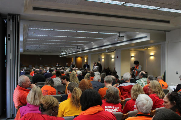 A crowd packs a hearing room in the Washington state Capitol Monday to testify on proposed gun control legislation.