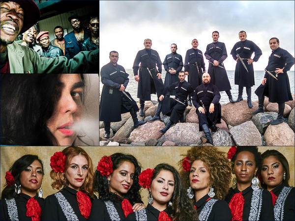 Clockwise from upper left: Jupiter & Okwess, Iberi Choir, Mariachi Flor De Toloache, Ava Rocha