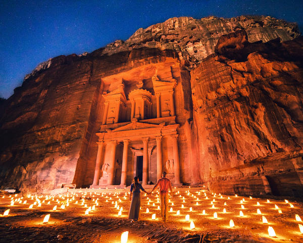 Collette and Scott Stohler at Petra in Jordan. (Courtesy)