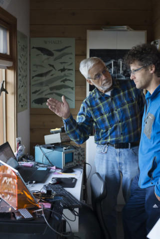 <p>Val Veirs, left, discusses a vessel noise study with his son, Scott Veirs. </p>