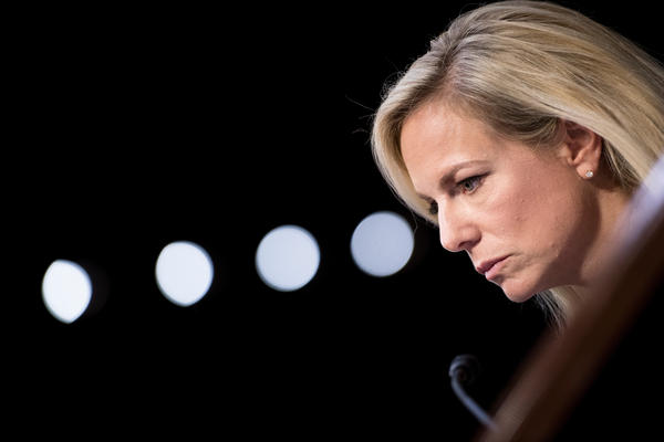 Homeland Security Secretary Kirstjen Nielsen looks on during a hearing before the Senate Judiciary Committee on Capitol Hill Tuesday.