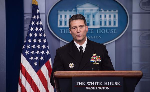 Rear Adm. Ronny Jackson, the White House physician, speaks about President Trump's health at a White House news briefing on Tuesday.