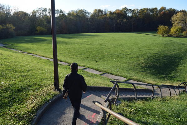 James Miles walks down the stairs at Marion Motley Park