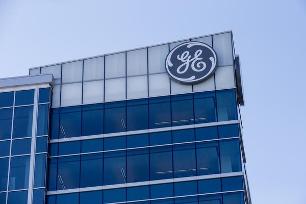 The General Electric logo is displayed at the top of their Global Operations Center on Tuesday in the Banks development of downtown Cincinnati.