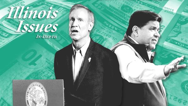Two mega-wealthy candidates are the frontrunners in the 2018 gubernatorial race, Gov. Bruce Rauner, left, and J.B. Pritzker, right.