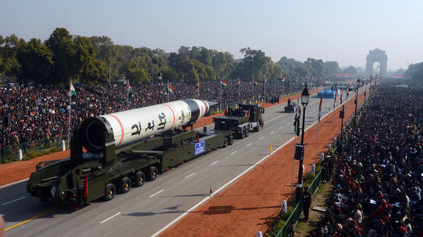 An Agni-V, the style of intercontinental ballistic missile fired Thursday, is displayed at a Republic Day parade in New Delhi in 2013.